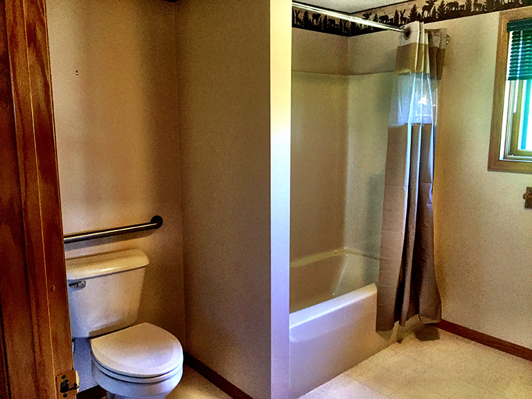 Main bath with handicap access.