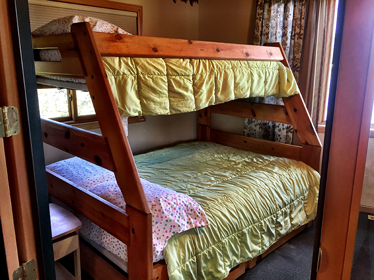Bunk room with single top and full bottom.
