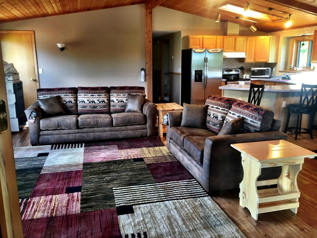Living room with comfy sofa sleeper.